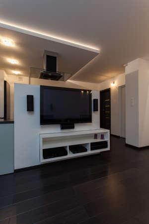 home theater: Minimalista appartamento - elettrodomestici moderni, tv grande in salotto