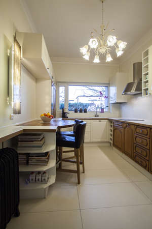 cloudy home: Cloudy home - kitchen with wooden shelves and huge window