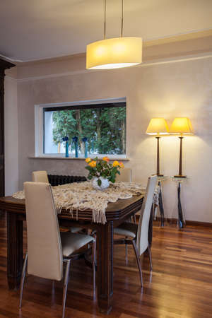 cloudy home: Cloudy home - wooden table in classic dining room