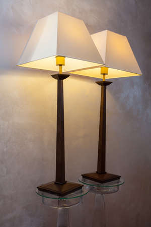 cloudy home: Cloudy home - two classic lamps on a glass stand