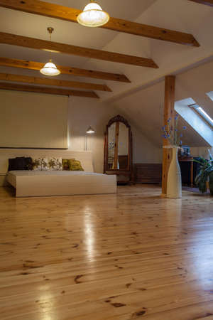 timber floor: Cloudy home - spacious, huge bedroom with original mirror Stock Photo