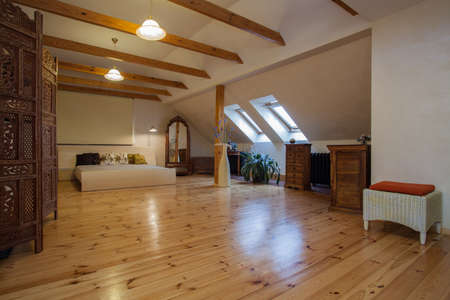 Cloudy home - classic, wooden bedroom interior photo