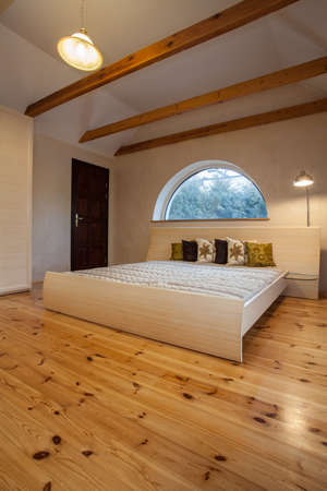 bedroom furniture: Cloudy home - wooden and spacious bedroom in the attic