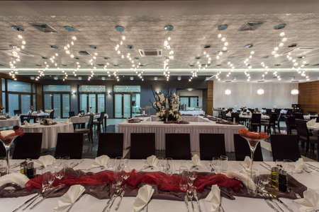 wedding table setting: Woodland hotel - Interior of elegant restaurant in a hotel Stock Photo
