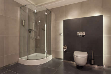 bathroom tile: Woodland hotel - Luxurious bathroom interior, wc, shower