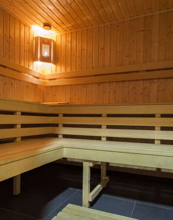 woodland hotel: Woodland hotel - Interior of sauna with wooden seats