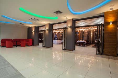 hotel hall: Woodland hotel - Interior of hotel; hall and restaurant