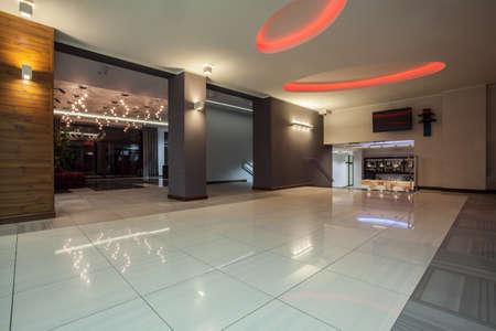lounge room: Woodland hotel - Hotel hallway leading to bar Stock Photo