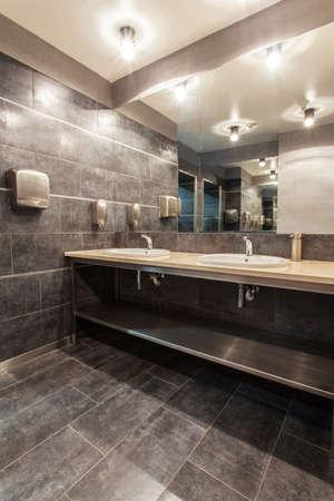 hotel bathroom: Woodland hotel - Bathroom with two wash basins