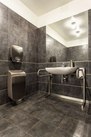 disable: Woodland hotel - Grey bathroom for disabled person