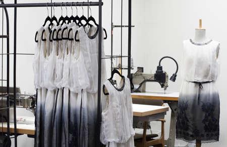 textile designer: At the dressmakers workshop, patterns of dresses