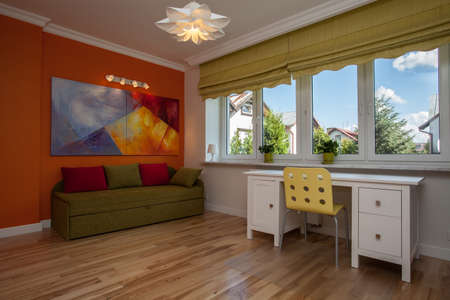 wood blinds: Children room with colorful sofa and walls