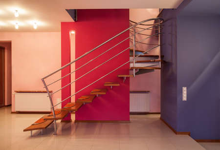 Amaranth house - Staircase in a colorful home interior Stock Photo - 17700703