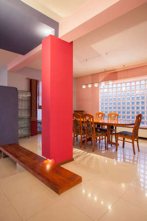 Amaranth house - colorful dining room with pink walls photo