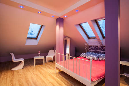 girlish: Amaranth house - Sweet girlish pink bedroom interior  Stock Photo