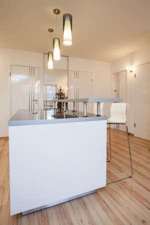 Stylish flat - Interior of modern house, bright kitchen photo