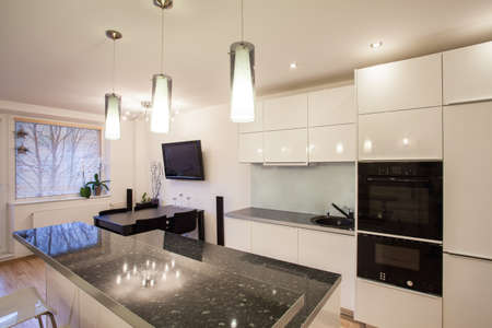 modern kitchen domestic home house: Stylish flat - Brigth kitchen with a dark table