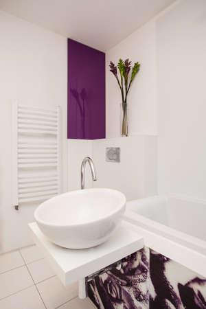 Primer del fregadero del recipiente blanco - Elegante apartamento photo