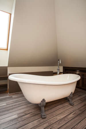 Country home - vintage, original bath in a wooden bathroom photo