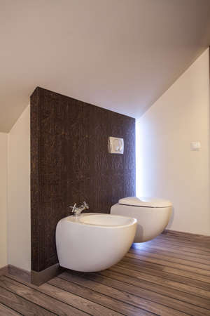 Country home - toilet and bidet in wooden bathroom photo