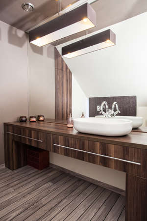 Country home - interior of wooden and modern bathroom photo