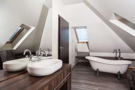 attic: Country home - interior of a vintage attic bathroom