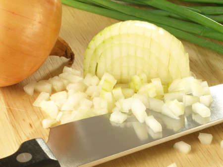 Fresh ecological onion chopped on cutting board Stock Photo - 17923526