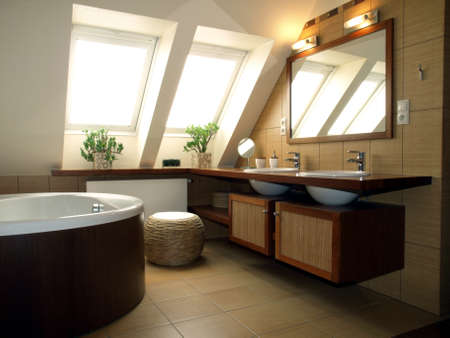 lofts: Inside of luxurious bathroom in modern house
