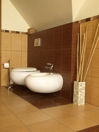 Equipment of modern bathroom in bamboo style photo