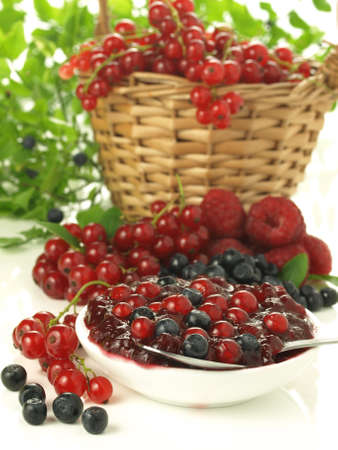 lowfat: Fresh fruits from garden and homemade jam Stock Photo
