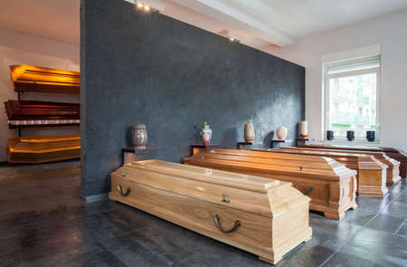 cremation: Coffins standing in funeral house