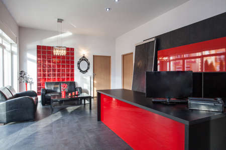 new office space: Office in black and red colors, interior