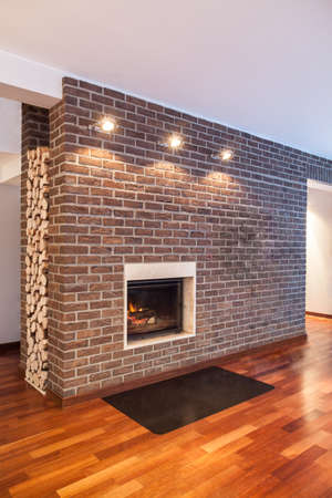 Country home - brick wall in modern house interior Stock Photo - 17861585