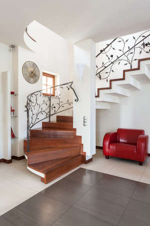 Classy house - stairs in modern and bright house interior photo