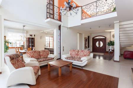 entresol: Classy house - living room and original mezzanine
