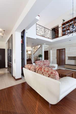 entresol: Classy house - living room, mezzanine and second floor Stock Photo