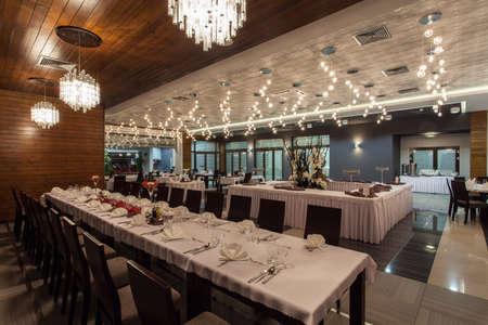 Woodland hotel - Huge restaurant room in hotel Stock Photo - 18264290