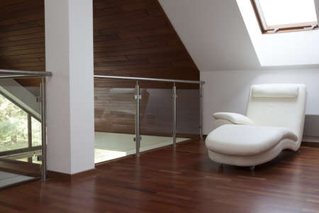Peaceful attic with place for relaxing and wooden floor Stock Photo - 18341918