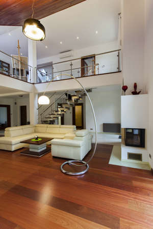 entresol: View on the spacious living room and the entresol