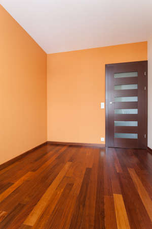 Spacious apartment - Empty room with orange walls Stock Photo - 18420424