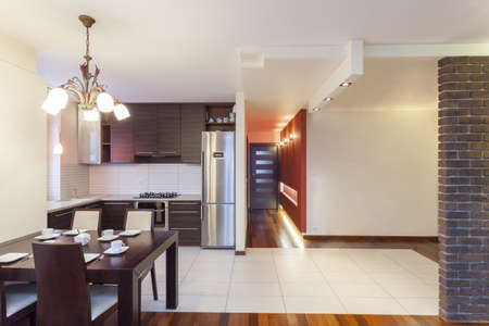 fridge lamp: Spacious apartment - Modern kitchen in spacious house Stock Photo