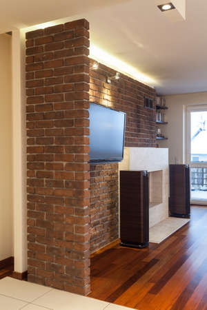 Spacious apartment - Stone wall inside of living room photo
