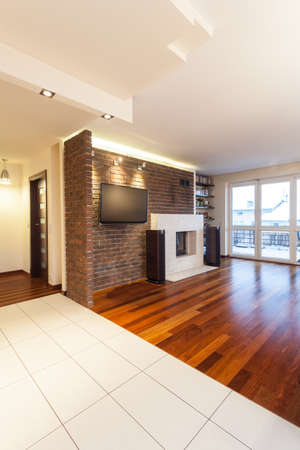 Spacious apartment - Living room with brick wall and tv Stock Photo - 18439765