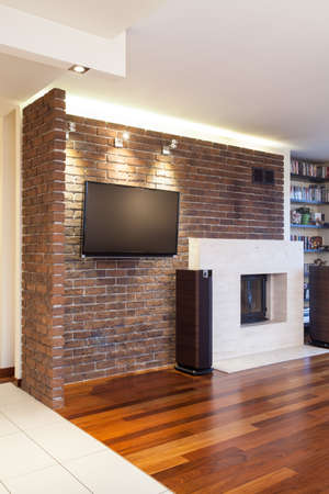 Spacious apartment - Brick wall in modern living room Stock Photo - 18439773