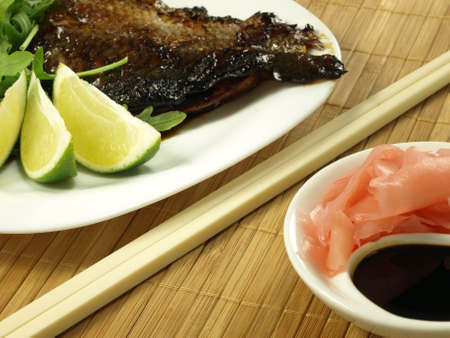 Fried salmon, marinated ginger and balsamic vinegar photo