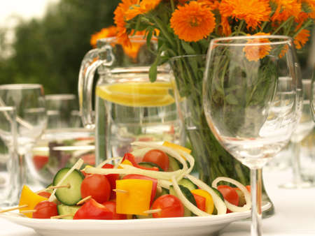elegant party: Vegetable kebabs on table ready for elegant reception Stock Photo