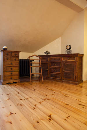 Cloudy home - old fashioned furniture in wooden room photo