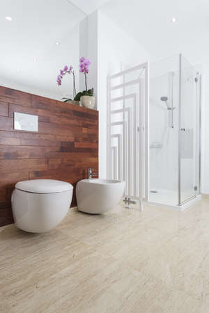 Shower, toilet and bidet in modern bathroom photo