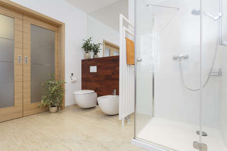 travertine house: Interior of bright bathroom with shower
