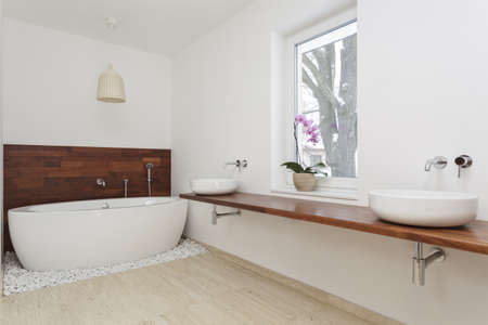 bathtub: Interior of bathroom with exotic decoration